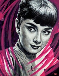 Audrey Hepburn by Pete Humphreys - Original Painting on Stretched Canvas sized 28x36 inches. Available from Whitewall Galleries