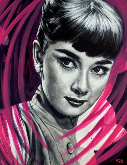 Audrey Hepburn by Pete Humphreys - Original Painting on Stretched Canvas